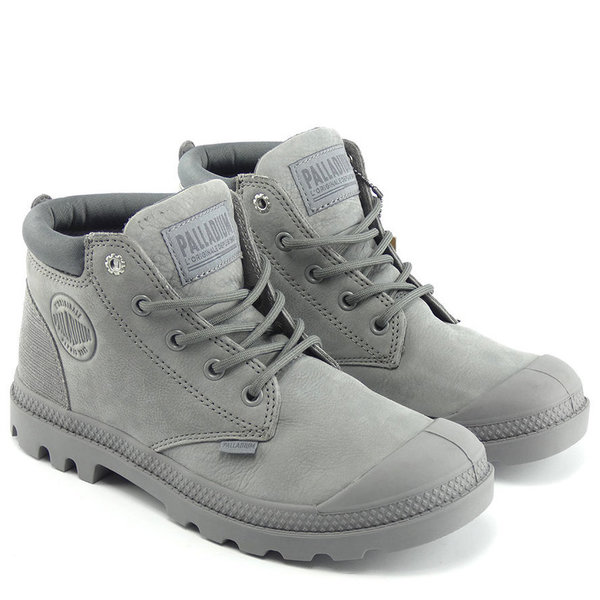 Palladium Low Cuf Lea W Grau
